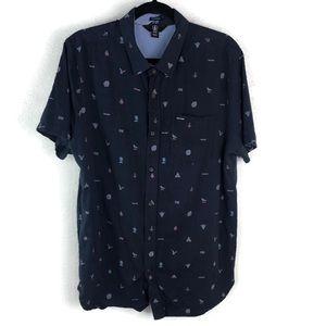 Volcom   Graphic Men's Button Up Blue Size XL EUC